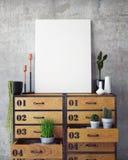 Verspotten Sie herauf Plakat mit Weinlesehippie-Dachbodeninnenraumhintergrund Lizenzfreies Stockfoto