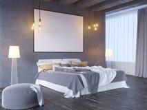 Verspotten Sie herauf Plakat mit Weinlesepastellhippie-Minimalismusdachboden-Innenhintergrund, 3D Wiedergabe, Illustration 3D Lizenzfreie Stockbilder