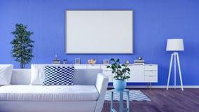 Verspotten Sie herauf Plakat, modernes Wohnzimmer, 3d übertragen Lizenzfreies Stockfoto
