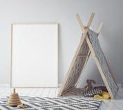 Verspotten Sie herauf Plakatrahmen im Hippie-Raum, Innenhintergrund der skandinavischen Art, 3D übertragen lizenzfreie abbildung
