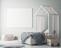 Verspotten Sie herauf Plakatrahmen im Kinderschlafzimmer, Innenhintergrund der skandinavischen Art, 3D übertragen Stockbild