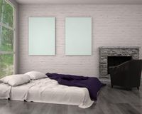 Verspotten Sie herauf Plakatrahmen im modernen Innenwohnzimmer des Hippies stockfotografie