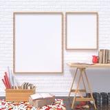Verspotten Sie herauf Posterrahmen im Kunstatelier mit Holztisch und roten Details, 3D vektor abbildung