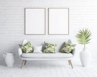 Verspotten Sie herauf Rahmen im Wohnzimmerinnenraum mit weißem Sofa auf weißer Backsteinmauer, skandinavische Art stock abbildung