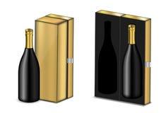 Verspotten Sie herauf realistischen erstklassigen Wein oder Champagne Alcohol Black Bottle für Weihnachtsfest mit Luxusgoldkasten vektor abbildung