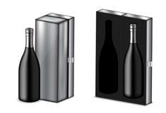 Verspotten Sie herauf realistischen erstklassigen Wein oder Champagne Alcohol Black Bottle für Weihnachtsfest mit metallischer Ka lizenzfreie abbildung