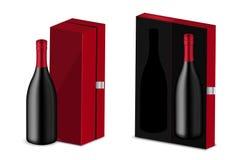 Verspotten Sie herauf realistischen erstklassigen Wein oder Champagne Alcohol Black Bottle für Weihnachtsfest mit rotem Kasten-Ve vektor abbildung