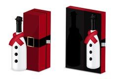Verspotten Sie herauf realistischen erstklassigen Wein oder Champagne Alcohol Snow Man Bottle für Weihnachtsfest mit Luxuskasten- lizenzfreie abbildung