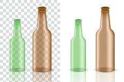 Verspotten Sie herauf realistisches Amber Glass Transparent Alcohol Packaging-Produkt für Bier-und Lebensmittel Flasche lokalisie stock abbildung