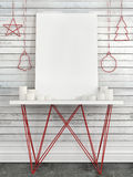 Verspotten Sie herauf Segeltuch auf Tabelle gegen die Wand mit Weihnachten-decorati Lizenzfreie Stockfotos