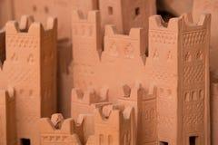 Verspotten Sie oben von Ait Ben Haddou, ein mittelalterliches Kasbah errichtet im luftgetrockneten Ziegelstein stockfoto