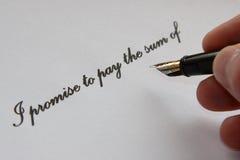 Versprechung zu zahlen Stockbilder