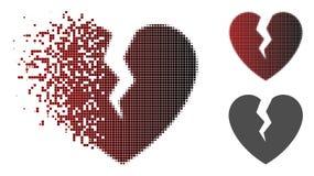 Verspreid Dot Halftone Broken Heart Icon royalty-vrije illustratie