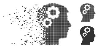 Verspreid Pixel Halftone Brain Gears Icon Stock Fotografie