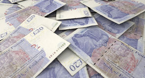 Verspreide Bankbiljetstapel Stock Fotografie