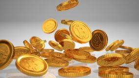 Verspreide Bitcoins 3D Illustratie Stock Afbeelding