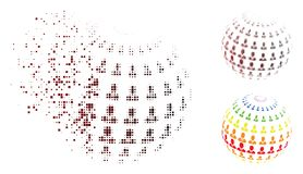Verspreide Pixel Halftone Zakenman Abstract Sphere Icon vector illustratie