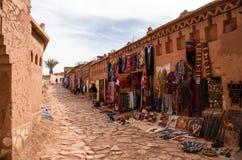 Verstärkte Dorf Ait Benhaddou-Shops Stockbild