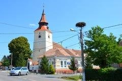 Verstärkte mittelalterliche Kirche im Dorf Verschlusspfropfen, Siebenbürgen Lizenzfreie Stockfotos