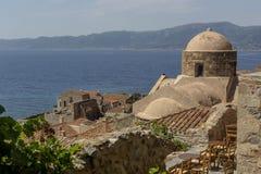 Verstärkter Stadt Monemvasia-Laconia, Griechenland, Peloponnes lizenzfreie stockfotos