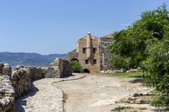 Verstärkter Stadt Monemvasia-Laconia, Griechenland, Peloponnes lizenzfreies stockfoto