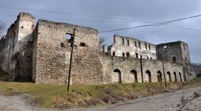 Verstärkung, die Chortkiv-Schloss errichtet Stockfotos