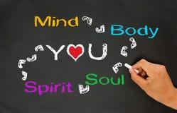 Verstand, Körper, Seele, Geist und Sie stockbild