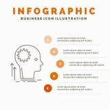 Verstand, kreativ, Denken, Idee, Infographics-Schablone für Website und Darstellung gedanklich lösend Linie graue Ikone mit Orang vektor abbildung