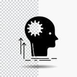 Verstand, kreativ, denkend, Idee und lösen Glyph-Ikone auf transparentem Hintergrund gedanklich Schwarze Ikone stock abbildung