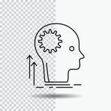 Verstand, kreativ, denkend, Idee und lösen Linie Ikone auf transparentem Hintergrund gedanklich Schwarze Ikonenvektorillustration vektor abbildung