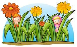Verstecken mit zwei kleinen Mädchen vektor abbildung