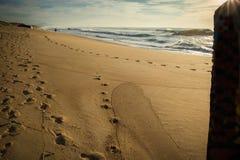 Verstecken und Aufpassen hinter Blockhaus auf szenischem sandigem Strand und Wellen von Atlantik Stockfoto