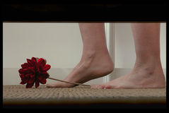 Verstecken unter dem Bett Stockbild