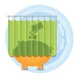 Versteckte Gewinne Handzeiger setzte sich in Münze im Sparschwein, die hinter dem Vorhang stehen Stockfotografie