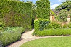 Versteckter Gehweg durch hohe Hecke in einem Sommergarten stockbild