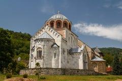 Versterkt middeleeuws Studenica-klooster stock fotografie