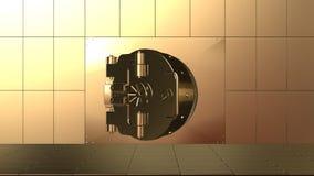 Versterkte deur van reus, roestvrij staal het veilige openen stock illustratie