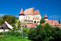 Versterkte kerk in Biertan, Roemenië Royalty-vrije Stock Foto