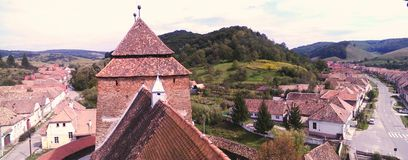 Versterkte kerk in Valea Viilor stock foto