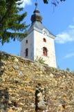 Versterkte middeleeuwse Saksische evangelische kerk in het dorp TicuÅŸu Vechi, deutsch-Tekes, stock fotografie