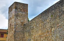 Versterkte muur Montefalco Umbrië Italië stock foto's
