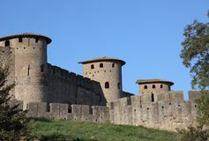 Versterkte muur van Carcassonne Stock Afbeeldingen