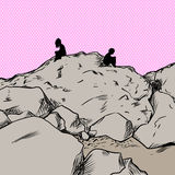 Verstoorde minnaars over roze op berg vector illustratie