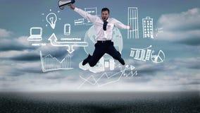 Verstoorde zakenman die voor geanimeerd businessplan springen stock videobeelden
