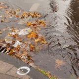 Verstopfter Abwasserkanal blockt Regenwasserabfluß Stockfotos