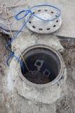 Verstopftes Kanalrohrsystem, Abwasserkanalüberlauf 2 Stockfotografie