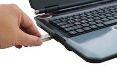 Verstopfung des entfernbaren grellen Plattenspeichers in Laptop Stockfotos