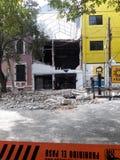 Verstoringen in avenida Medellin tijdens de aardbeving van Mexico-City Royalty-vrije Stock Foto
