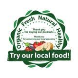 Versuchen Sie unser lokales Lebensmittel! bedruckbarer Werbungsaufkleber/-aufkleber lizenzfreie abbildung