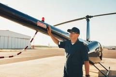 Versuchsstellung am Endstück eines Hubschraubers Lizenzfreie Stockbilder